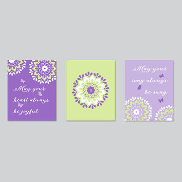 Baby Room Decor, girl nursery quote, purple green flower art print set, dahlia triptych, baby girl lavender bedroom bathroom, gift for her