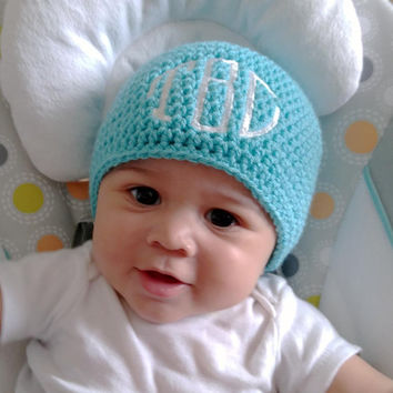 Personalized Baby Hat - Monogram Baby - Crochet Baby Hat - Baby Beanie - Crochet Baby Beanie - Monogram Hat - Turquoise Hat - Baby Hat