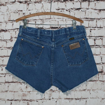 90s High Waist Shorts Wrangler Distresssed Medium Wash Cut Offs Denim Jean Rise 32 33 10 12 L Grunge Hipster Boho Festival 70s 80s