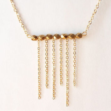 dainty necklace, beaded necklace, simple necklace, tassels necklace, minimalist jewelry by SABOTAGEandCO