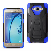 Reiko Samsung Galaxy On5 Hybrid Heavy Duty Case Navy Black (Silicon Case+Protector Cover) With Kickstand-Black