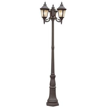 Trans Globe Lighting 5048 BC Black Copper Stonebridge 3 Lantern Lamp Post with Clear Seeded Glass - (In BC-Black Copper)