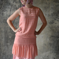 Flapper Dress 1920s Pink Silk