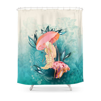 Society6 Jellyfish Tangling Shower Curtains