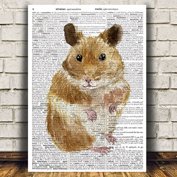 Hamster decor Wildlife poster Animal print Watercolor print RTA1485