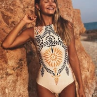 Tribe Floral Silhouette One Piece Swimsuit
