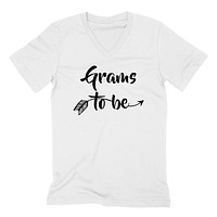Grams to be pregnancy announcement new grandma grandmom to be baby shower  V Neck T Shirt
