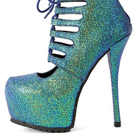 (anm) Switz cut out bootie - Teal Multi platform