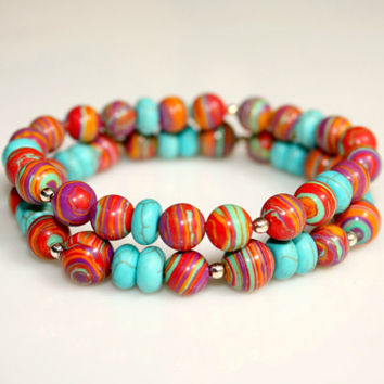 Rustic Rainbow Bracelets Country Chic Turquoise and Sterling Silver by Mei Faith