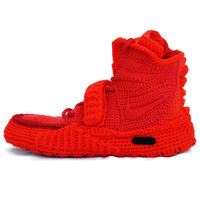 Crochet Air Yeezy 2 Red October, Air Yeezy 2 Knitted Slippers, Crochet Air Yeezy 2 Red  Boost, Crochet Adult Red Octeber Sneakers, NAY2RO