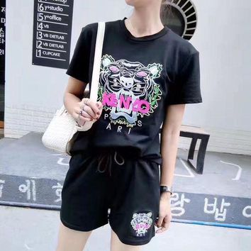DCCKH3L Kenzo' Women Casual Fashion Tiger Head Pattern Embroidery Short Sleeve Shorts Set Two-Piece Sportswear