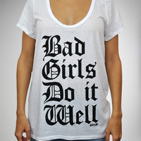 Hustler 'Bad Girls Do It Well' V-Neck Junior Fitted Tee