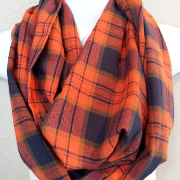 Orange and Navy Flannel Plaid Infinity Scarf Womens Fall Plaid Scarves Girls Winter Plaid Scarf Gift for Her Plaid Flannel Circle Scarf