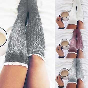 Women Cotton Thigh High Long Stockings Knit Over Knee Socks Red Gray  white Dark Gray Ladies Women Stocking Winter Soft Stocking