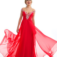 Mac Duggal Prom 2013 - Cherry Gown With Sequin & Rhinestone Embellishments - Unique Vintage - Cocktail, Pinup, Holiday & Prom Dresses.
