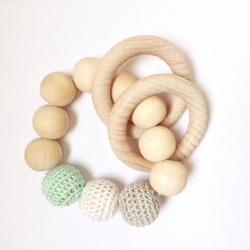 Mint green Crochet baby teething toy, Organic teething beads, Baby gift