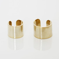 STACKED HAMMERED RING SET - GOLD