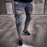 Ripped Holes Jeans Men's Mid Waist Destroyed Ripped Hole Stretch Denim Skinny Jeans Distressed Trousers
