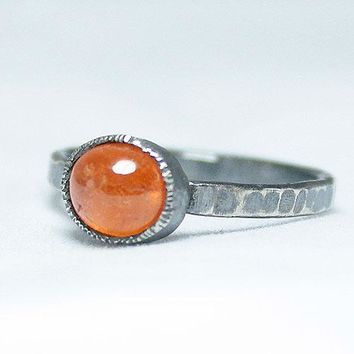 Silver Oxidised Sunstone Ring