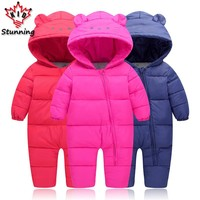 6M-24M Baby Boys Girls Coats Brand 2017 Snow Wear Infant Toddler Boys Rompers Coats Casual Kids Down Coats
