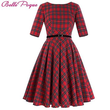 Belle Poque Women Summer Retro Vintage Dress Clothing Cotton Big Swing Party Robe Rockabilly 50s Plaid Dress Feminine Vestidos