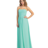 Mint Pleated Chiffon Strapless Sweetheart Gown