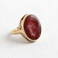 Antique 14k Rosy Yellow Gold Roman Warrior Carnelian Cameo Ring - Size 4 Art Deco Carved Intaglio Semi Precious Red Stone Fine Jewelry
