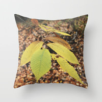 Into the wet autumn forest. Throw Pillow by Guido Montañés