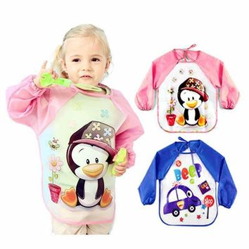 Baby Bibs Burp Children Cartoon Drawing Eating Feeding cloths Waterproof Long Sleeve Infant Newborn Bib Apron