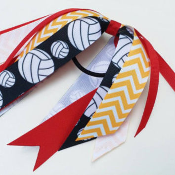 Red and gold volleyball hair streamers, red and yellow, yellow gold, ponytail ribbon streamers, volleyball ribbon hair tie, gold chevron