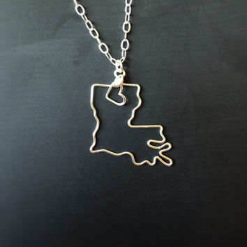Custom State Love Necklace- Louisiana State Necklace- Personalized Necklace- Any State or Country- Silver or Gold
