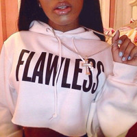 Ladies White FLAWLESS Hoody Crop Top Women Hoodies Sweatshirt Tops White Black Solid FLAWLESS Letters Hooded Pullover Hoodies
