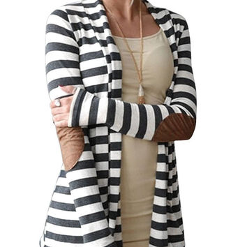 Women's Shawl Collar Striped Knitted Sweater Cardigan Outwear