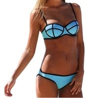 Maxhaha Women's Bandage Push Up Bikini Set