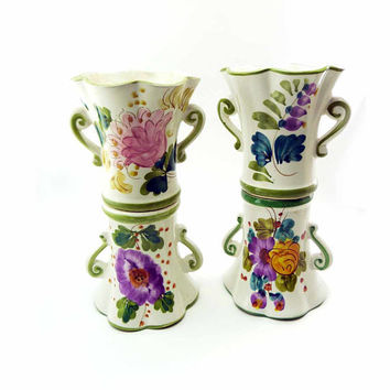 Shop Hand Painted Floral Vases On Wanelo