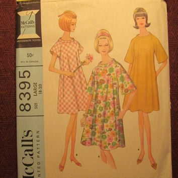 SALE Complete 1960's McCall's Sewing Pattern, 8395! Size 18-20 Large/Women's/Misses/Pullover Robe/House Dress/Loose Fitting Night Gown