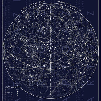 FAB Antique Illustration Celestial Print Constellations Map of The Stars Digital Stars Download Vintage Constellations Chart