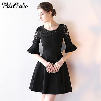 PotN'Patio Elegant O-neck Ruffles Half Sleeves Knee Length Cocktail Party Dresses Black 2017