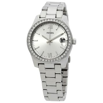 Fossil Womens ES4317 Scarlette Crystal Silver Dial Watch