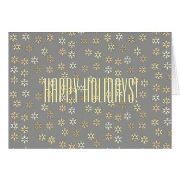 Golden Snowflakes Happy Holidays Greeting Card