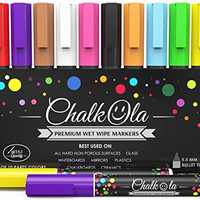 Chalk Markers - Pack of 10 neon color pens. For Chalkboard, Whiteboard, Window, Labels, Bistro, Glass - Wet Wipe Erasable - 6mm Bullet Tip