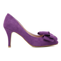 ROMWE Bowknot Embellishment Sheer Purple High Heels