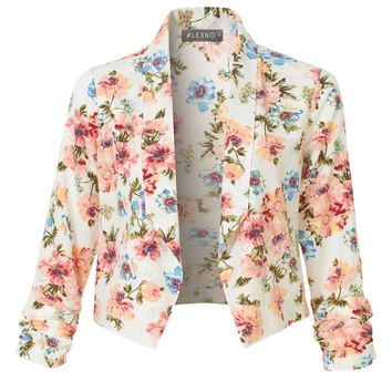 LE3NO Womens Fitted Floral Ruched 3/4 Sleeve Open Front Blazer