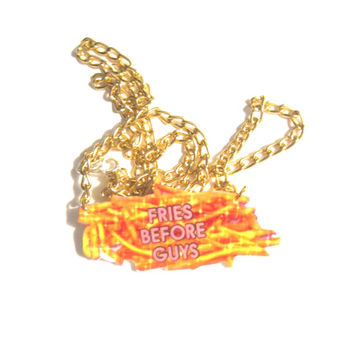fries before guys necklace, grunge, hipsters, kawaii grunge, geeks, nerdy gifts, tumblr