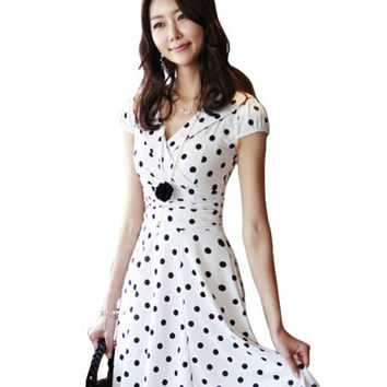 Korea Womens High Waist Slim Short Sleeve V Neck Polka Dot Dress quality mujer casuales ropa casuales femininos grandes esigual Alternative Measures - Brides & Bridesmaids - Wedding, Bridal, Prom, Formal Gown