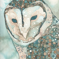 Masked Owl (Australian) 4 x 6 print of hand painted detailed watercolour artwork in whimsical turquoise blue green brown earth tones