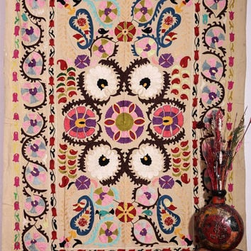 Hand Embroidered Suzani Wall Hanging , Suzani Throw , Suzani Tapestry , Suzani Bedspread ,Suzani Fabric Quilt , Handmade Suzani Bedding