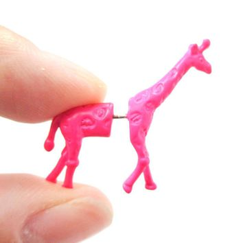 Unique Fake Gauge Earrings: Realistic Giraffe Shaped Animal Faux Plug Stud Earrings in Pink