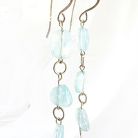 Long aquamarine earrings, very long dangle aqua blue earrings, gift for her