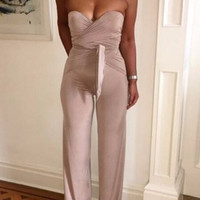 Pleated Waist Wide Leg Padded Push Up Jumpsuit
